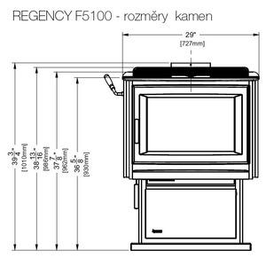 Kanadská krbová kamna REGENCY F5100 - kamna s autonomií hoření 24 hodin