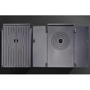 Teplovzdušná krbová kamna Iron Dog 03 - hold dílenským kamnům s plotýnkami pro vaření