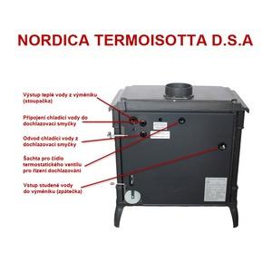 Nordica TERMOISOTTA D.S.A. - litinová kamna s teplovodním výměníkem