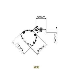 Infračervený zářič Tansun BAHAMA SINGLE - technický list boční
