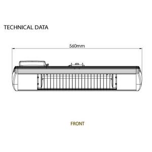 Infračervený zářič Tansun BAHAMA SINGLE - technický list s rozměry