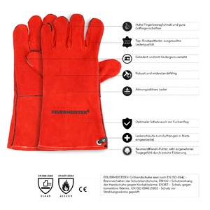 Kožené grilovací rukavice BBQ Premium (pár) - špičková technologie, kvalita a vzhled