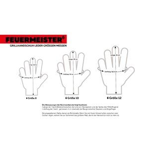 Kožené grilovací rukavice BBQ Premium (pár) - rozměry