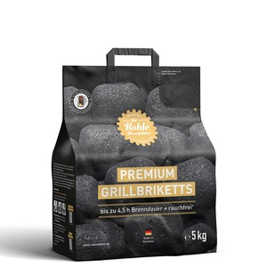 Grilovací brikety Kohle Manufaktur PREMIUM 5 kg - velmi kvalitní brikety s dobou hoření až 4,5 hodiny