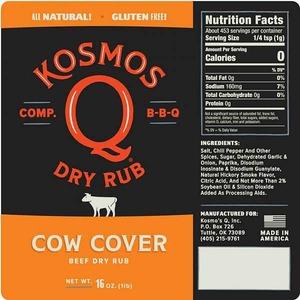 Barbeque koření Kosmo´s Q Cow Cover Rub (297g) - nejlepší BBQ koření na steaky, burgery, fajitas a hrudí