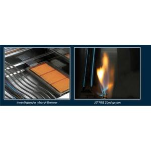 Plynový gril Napoleon LEX605RSBIPSS nerez - detail vnitřního keramického hořáku Sizzle Zone a piezo zapalování