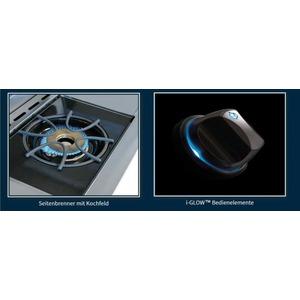 Plynový gril Napoleon LEX605RSBIPSS nerez - detail bočního kruhového hořáku a podsvícení ovládacího knoflíku i-Glow