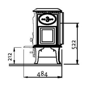 JOTUL Litinová krbová kamna Jotul F 3 TD - boční rozměry