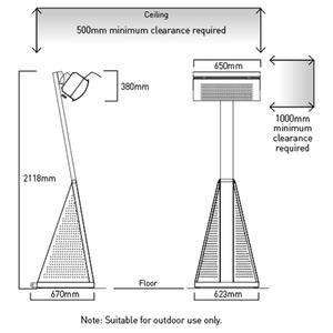 Plynový tepelný zářič HEATSTRIP - rozměry