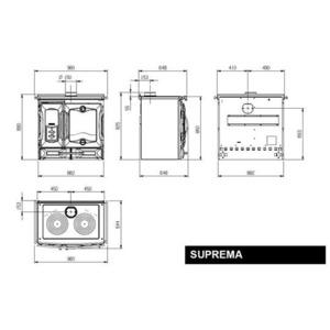 Smaltovaný sporák Nordica SUPREMA - Nero / Cremona