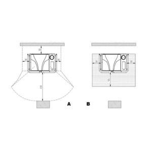 Teplovodní kachlový sporák Nordica termorosa D.S.A. - zastavovací rozměry