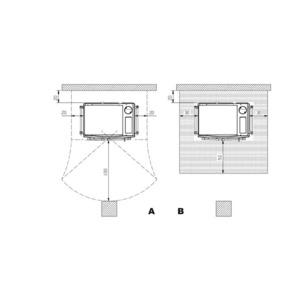 Smaltovaný teplovodní sporák Nordica Termosovrana D.S.A. - zastavovací rozměry