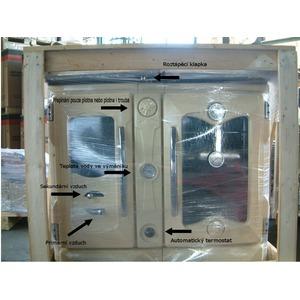 Smaltovaný teplovodní sporák Nordica Termosuprema Compact D.S.A. - přední detail v originílním balení