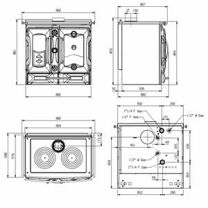 Smaltovaný teplovodní sporák Nordica Termosuprema Compact D.S.A. - rozměry