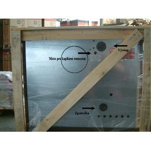 Smaltovaný teplovodní sporák Nordica Termosuprema Compact D.S.A. - zadní detail v originálním balení