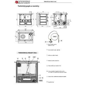 Kachlový teplovodní sporák Nordica TERMOROSA Ready D.S.A - rozměrový list