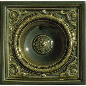 Kachlový sporák K3 - detail kachle Rustikal v barvě zelená olivová